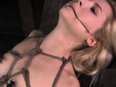 Restrained sub gets nipples...